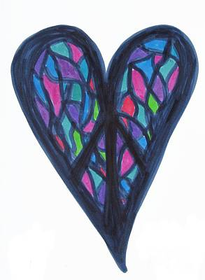 Drawing - Peace Puzzle Heart by Marlene Rose Besso