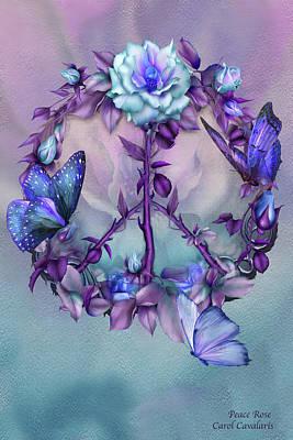 Dreamcatcher Art Mixed Media - Peace Rose - Blue by Carol Cavalaris