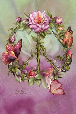 Butterfly Art Mixed Media - Peace Rose by Carol Cavalaris