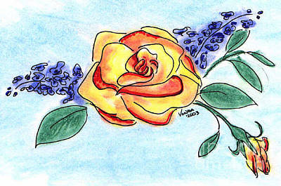 Drawing - Peace Rose by Vonda Lawson-Rosa