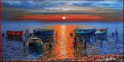 Tuscan Sunset Painting - Peace Sea by Orsucci