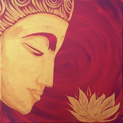 Painting - Peace Series- Buddha With Lotus by Su Nimon