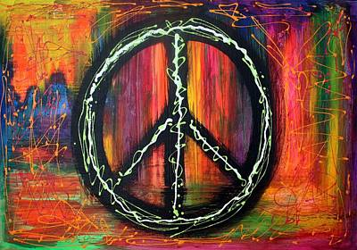 Colorful Abstract Painting - Peace Sign by Laura Barbosa
