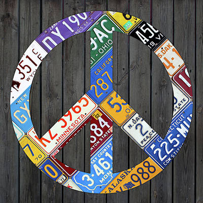 Signed Mixed Media - Peace Sign Recycled Vintage License Plate Art By Design Turnpike by Design Turnpike