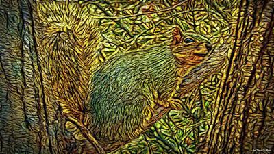 Trippy Digital Art - Peace Squirrel by Joel Bruce Wallach