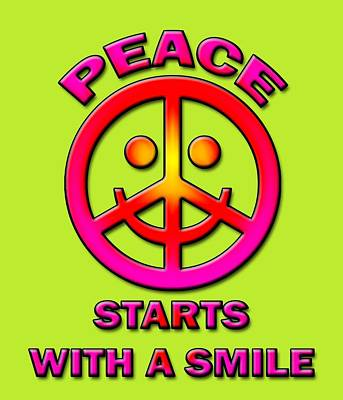 World Peace Digital Art - Peace Starts With A Smile by David G Paul