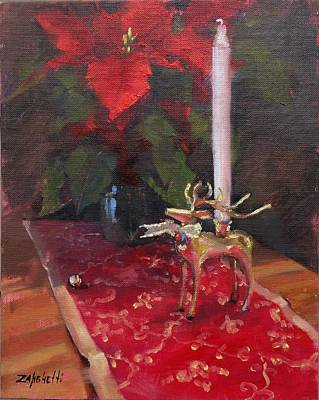 Poinsettias Painting - Peace To All by Laura Lee Zanghetti