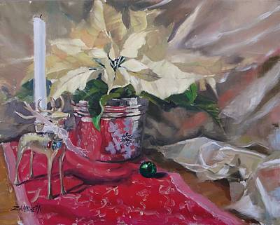Poinsettias Painting - Peace To All Three by Laura Lee Zanghetti