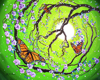 Lime Tree Painting - Peace Tree With Monarch Butterflies by Laura Iverson