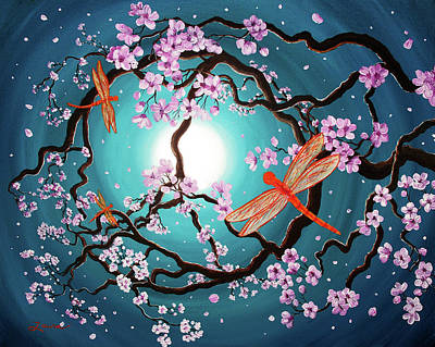 Sakura Painting - Peace Tree With Orange Dragonflies by Laura Iverson