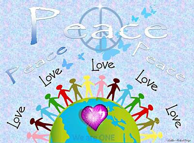 Digital Art - Peace We Are One Poster by Bobbee Rickard