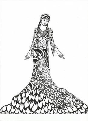 Meditative Drawing - Peace Woman Wild Ink by Jamie Ramirez