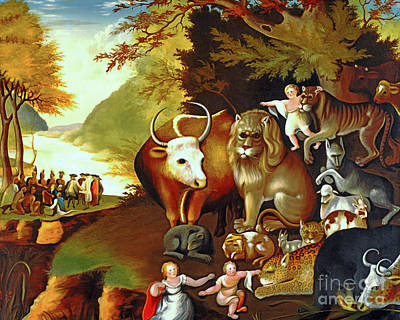 Pow Wow Painting - Peaceable Kingdom By Edward Hicks 20170409 by Wingsdomain Art and Photography