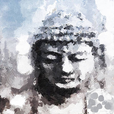 Peaceful Buddha- Art By Linda Woods Art Print