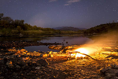 Peaceful Campfire On The River Art Print by Chuck Brown