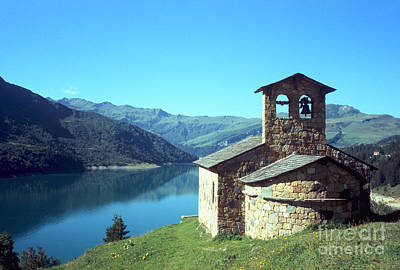 Peaceful Church And Lake  Art Print