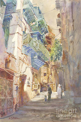 Old Street Painting - Peaceful Corner Jeddah Souq by Dorothy Boyer