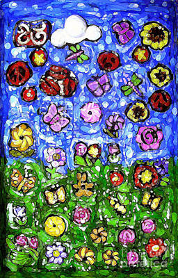 Abstract Flowers Mixed Media - Peaceful Glowing Garden by Genevieve Esson