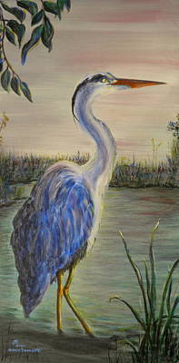 Painting - Peaceful Heron At Dawn by Sharon Tabor