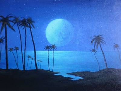 Peaceful Moonlit Night Art Print by Michael Odom
