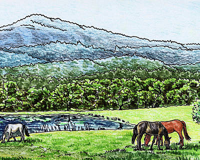 Painting - Peaceful Mountain Range With Grazing Horses by Irina Sztukowski