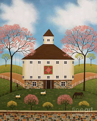 Round Barn Painting - Peaceful Pasture II by Mary Charles