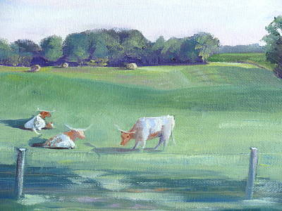 Longhorn Pasture Painting - Peaceful Pasture by Judy Fischer Walton
