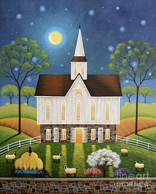 Moonlight Painting - Peaceful Pasture by Mary Charles