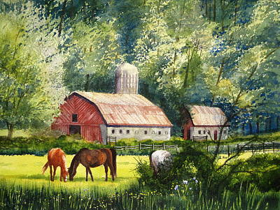 Rustic Barn Painting - Peaceful Pasture by Shirley Braithwaite Hunt