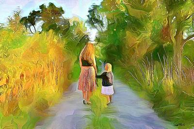 Painting - Friends On A Path by Wayne Pascall