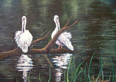 Painting - Peaceful Pelicans by Claudia Croneberger
