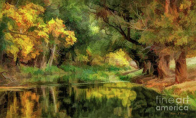 Digital Art - Peaceful Pond In The Trees by Walter Colvin