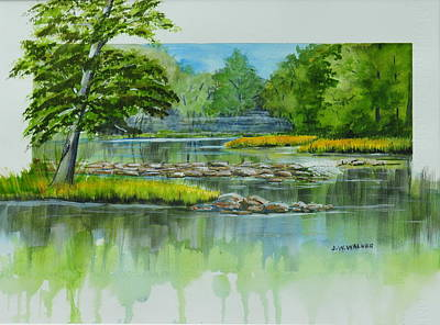 Painting - Peaceful River by John W Walker
