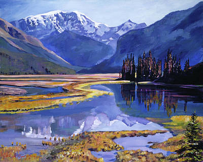 Mountain Scenery Painting -  Peaceful River Valley by David Lloyd Glover