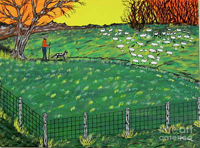 Painting - Peaceful Sheep Pastures by Jeffrey Koss