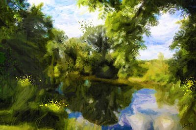 Peaceful Stream Art Print by Chamira Young