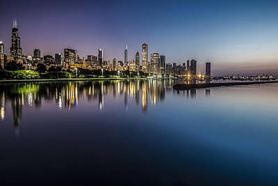 Peaceful Summer Dawn Scene On Chicago's Lakefront Art Print
