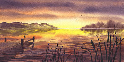 Polaroid Camera - Peaceful Sunset At The Lake by Irina Sztukowski
