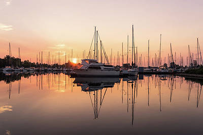 Photograph - Peaceful Symmetry - Catching The Sunrise At The Yacht Club by Georgia Mizuleva