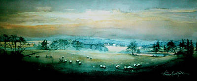 Grazing Sheep Painting - Peaceful Valley by Hanne Lore Koehler