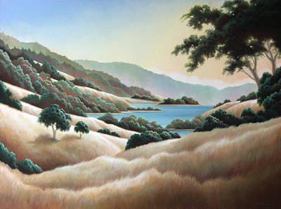 Painting - Peaceful Valley Lake by Charle Hazlehurst