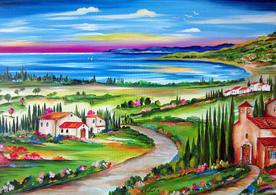 Painting - Peaceful Village By The Lake by Roberto Gagliardi