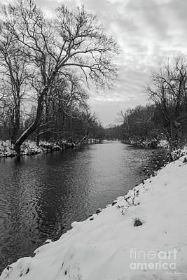 Photograph - Peaceful Winter At James River Grayscale by Jennifer White