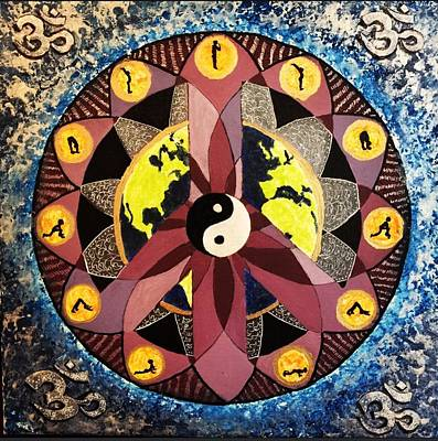 Sun Salutations Painting - Peaceful Yoga by John DeCosta