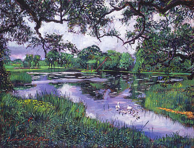 Pastoral Landscape Painting - Peacefull Lake by David Lloyd Glover