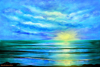 Painting - Peacefully Blue - Seascape Sunset by Gina De Gorna