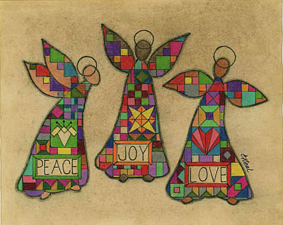 Quilts Drawing - Peace,joy,love by Carol Neal