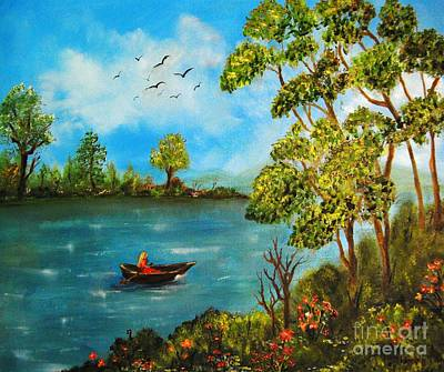 Peacful Boating Art Print by Tina Haeger