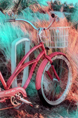 Photograph - Peach And Aqua Beach Bike by Debra and Dave Vanderlaan