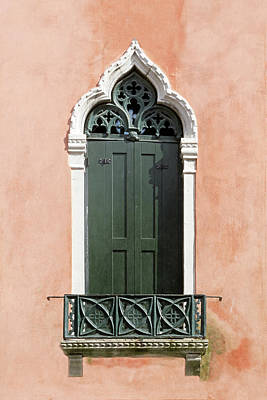 Photograph - Peach And Green Venetian Gothic Door by Brooke T Ryan